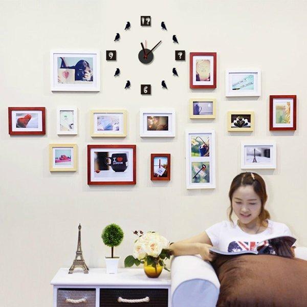 BO雜貨【YV0022】時鐘壁貼 創意立體小鳥 居家裝潢佈置 牆貼壁紙貼紙 不含相框 只有時鐘
