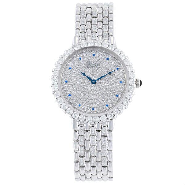 大高雄鐘錶城:愛其華Ogival冷翡翠(3811DGW)繁星鑽石奢華時尚腕錶38mm