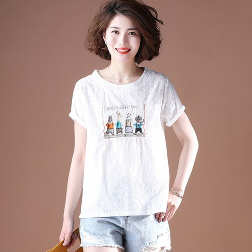 純棉短袖韓版寬鬆刺繡T恤(4色L~5XL)【OREAD】 2