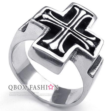 《 QBOX 》FASHION 飾品【W10023387】精緻個性立體克羅心十字架鑄造316L鈦鋼戒指/戒環