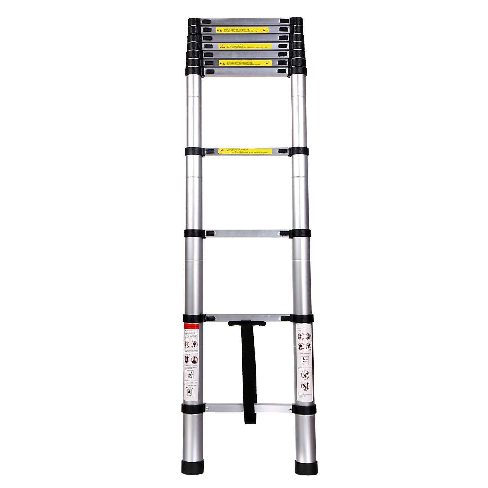 3.2M Durable Aluminum Alloy Telescoping Ladder Portable Foldable Extendable Ladder 2
