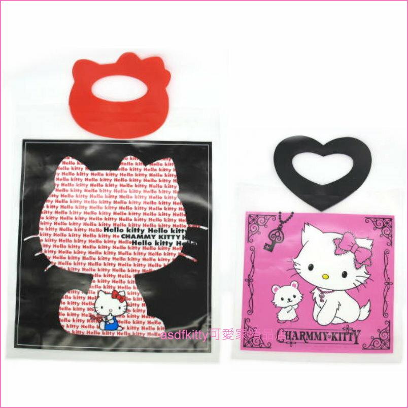 asdfkitty可愛家☆KITTY+瑪莉貓塑膠手提袋(一大一小)/禮物袋-日本正版商品