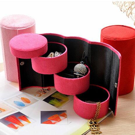 韓版優質絨布三層圓形便攜多功能首飾盒飾品盒收納盒【庫奇小舖】