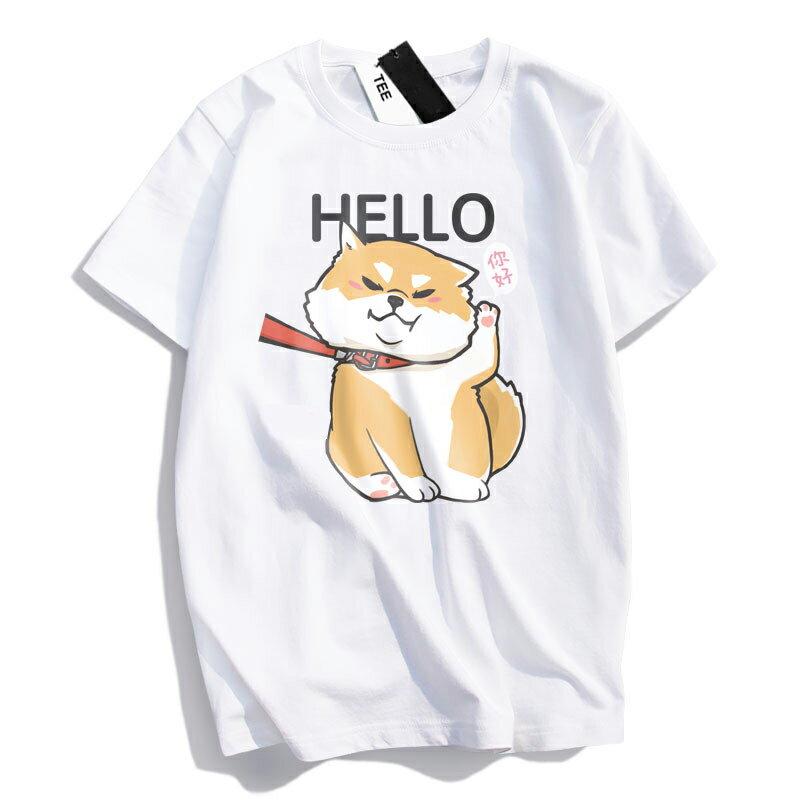 KUSO 搞笑 情侶裝 純棉短T MIT台灣製【YC686-17】萌寵 HELLO 你好 柴犬  動物萌寵 快速出貨 1