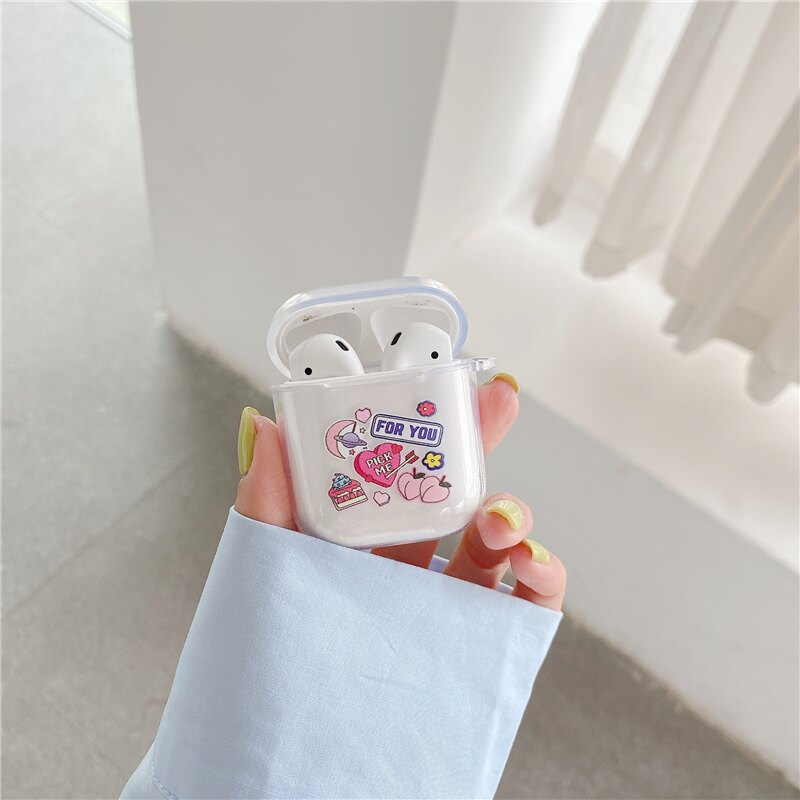 AirPods 1/2代 少女心 蜜桃 透明 藍芽耳機保護套   OMG買瘋樂