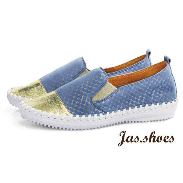 JAS shoes 角色製靴:JASSHOES【JC0777】超級纖維拼接亮彩軟Q真皮踩腳無內裡懶人鞋平底鞋休閒鞋-銀網格藍