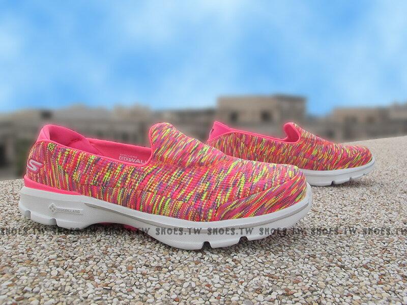 《超值1680》Shoestw【14061HPLM】SKECHERS 健走鞋 GO WALK3 全新Q彈底 桃黃線條 瑜珈鞋墊