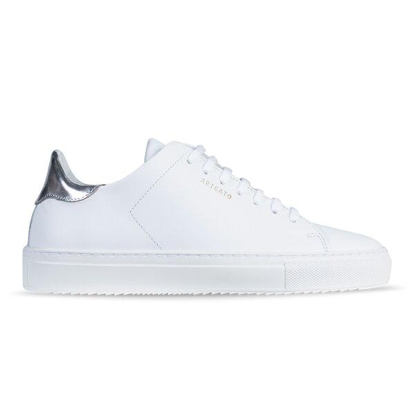 Axel Arigato:AxelArigatoCLEAN90白色皮革搭配科技銀鞋跟