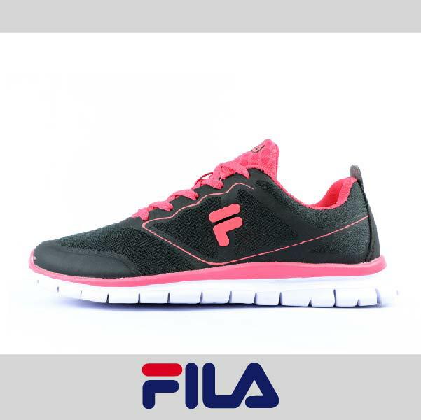 萬特戶外運動 FILA 5-J934P-022 女款運動慢跑鞋 輕量舒適 透氣 特價 黑/桃紅色