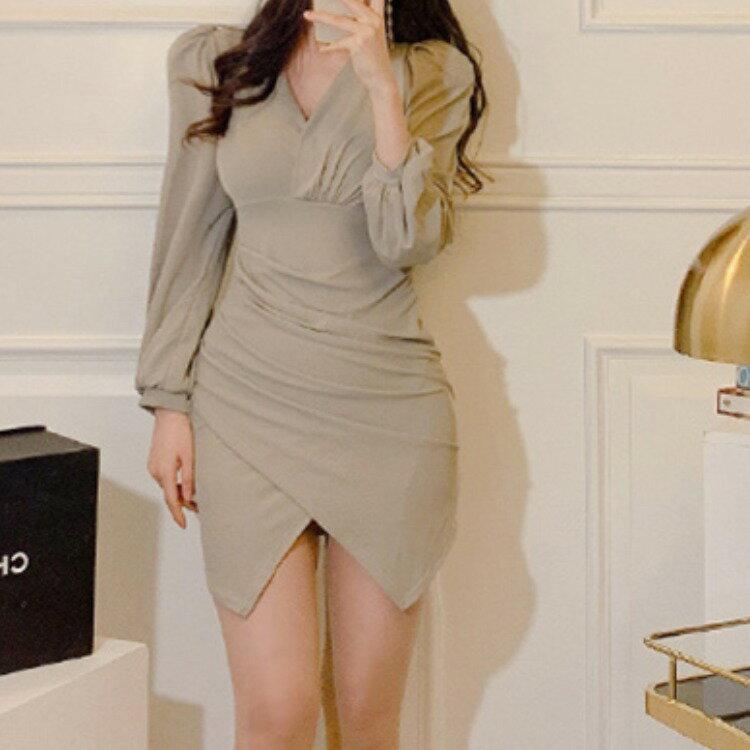 女裝2021秋冬夜店低胸包臀女士短裙性感顯瘦修身連衣裙