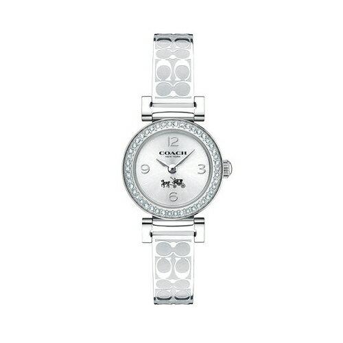 方采鐘錶 COACH 氣質時尚璀鑽LOGO帶腕錶/ 銀/ 14502201