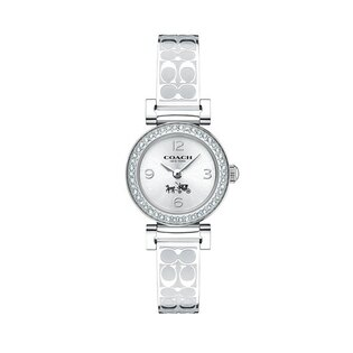 COACH氣質時尚璀鑽LOGO帶腕錶銀14502201