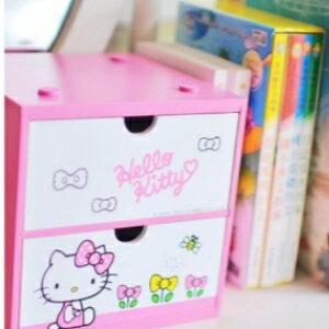 美麗大街【106011906】HELLO KITTY 造型 蝴蝶結 粉色 桌面置物收納箱 抽屜櫃
