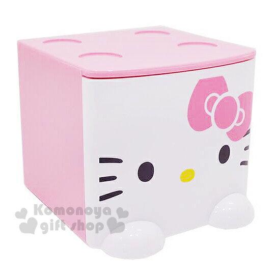 〔小禮堂〕Hello Kitty 桌上單抽積木收納盒《粉.大臉》可多個推疊