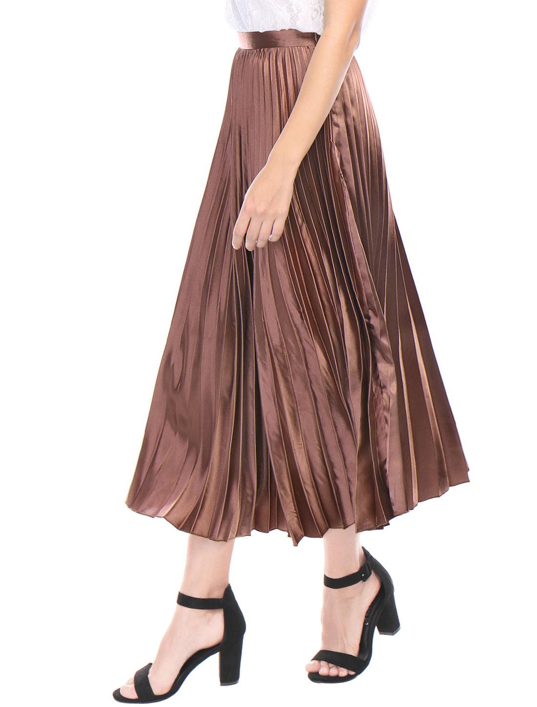 44937841b7 Unique Bargains Women's Accordion Pleats High Waist Metallic Midi Skirt  Copper (Size S / 6