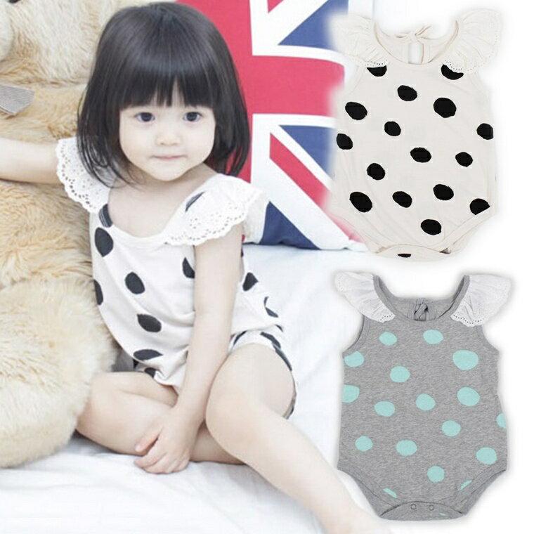 『DoudouMiki』童裝。點點蕾絲袖包屁衣(CSA0005)