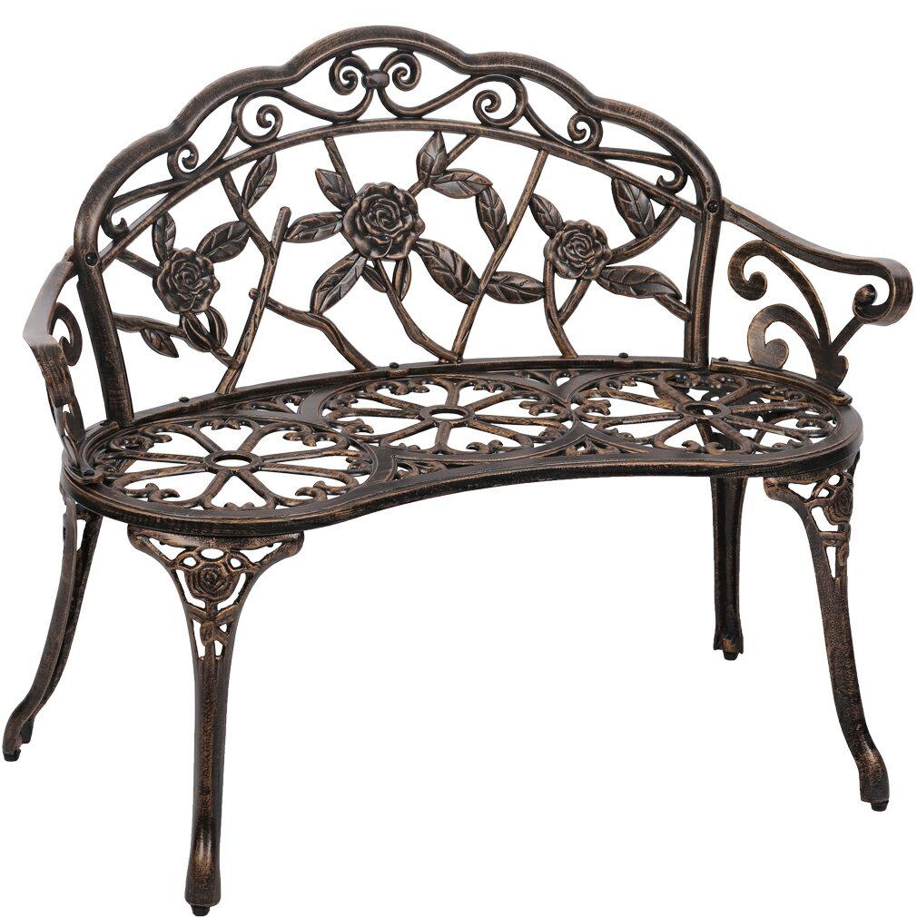 Excellent Patio Garden Bench Bronze Park Yard Furniture Cast Aluminum Rose Antique Bralicious Painted Fabric Chair Ideas Braliciousco