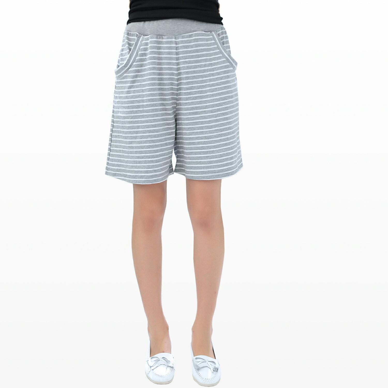 鬆緊五分褲--俏皮舒適橫條紋彈性褲頭棉質中腰五分褲(黑.灰.紅.藍M-L)-R69眼圈熊中大尺碼 1