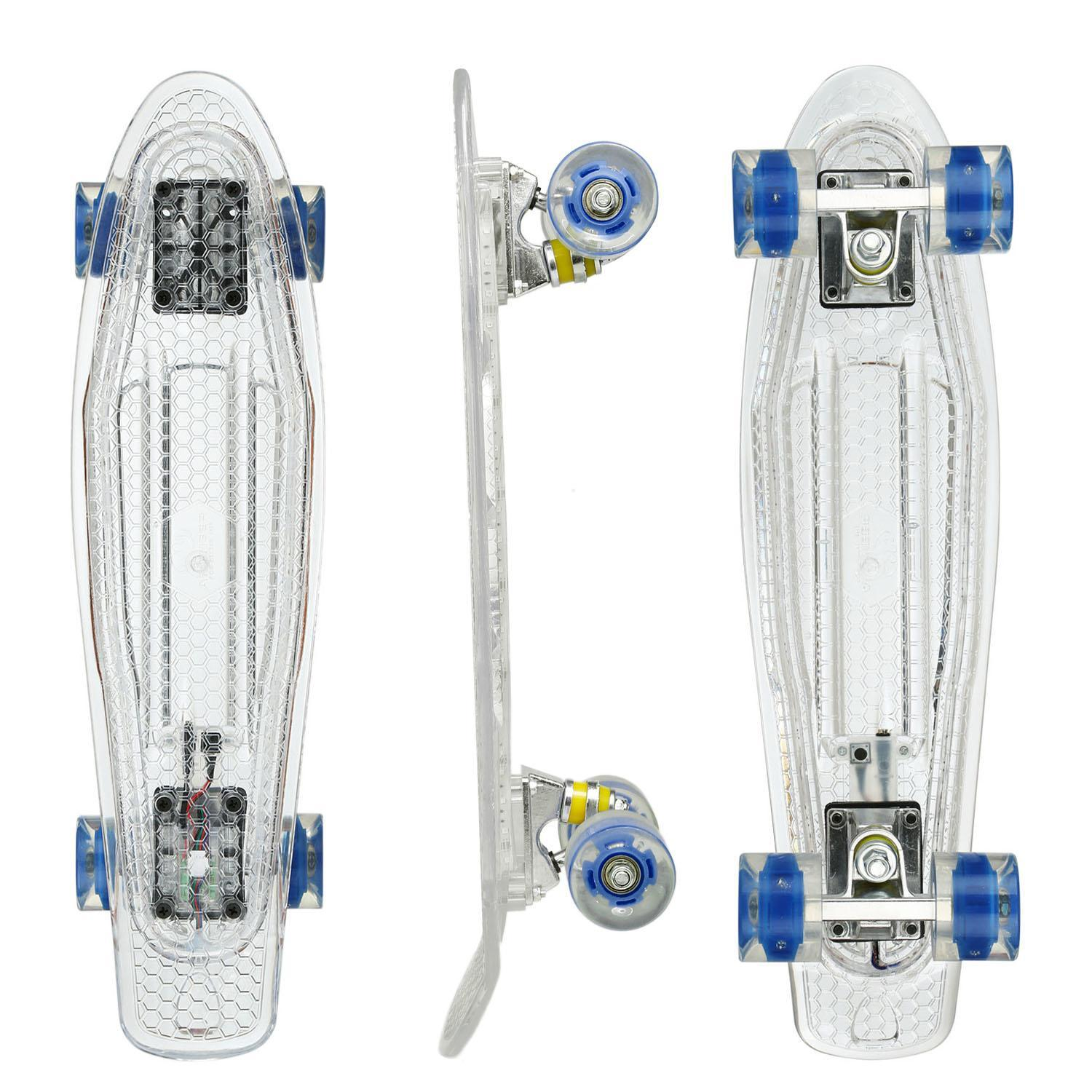 22 Cruiser Crystal Clear Board LED Light Up Wheels Outdoor Complete Deck Skateboard 3
