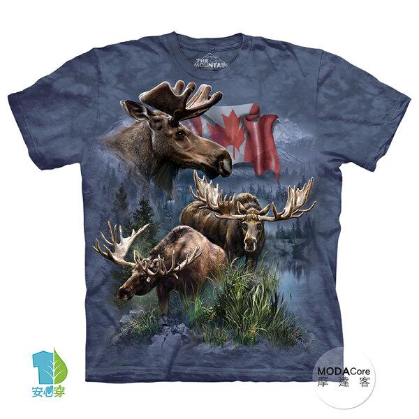 【摩達客】(預購)美國進口TheMountain加拿大麋鹿群純棉環保藝術中性短袖T恤