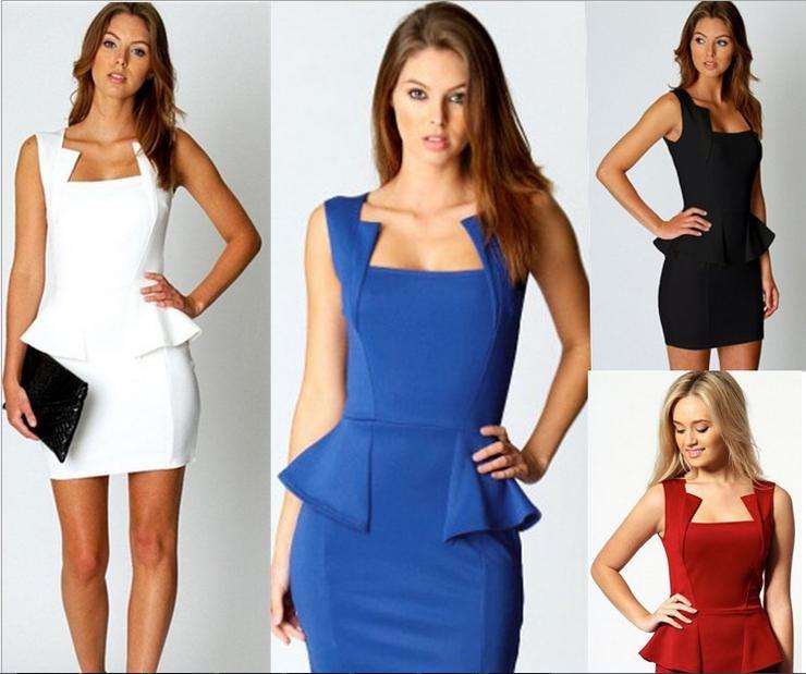 歐美新款性感短袖荷葉邊包臀收腰短裙洋裝 4色 N218 特價現貨下標區