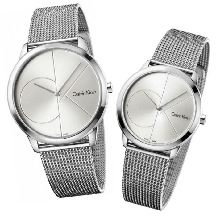 大高雄鐘錶城 CK Calvin klein 卡文克萊 Minimal系列(K3M2112Z+K3M2212Z)時尚LOGO米蘭腕錶/ 白面40+35mm