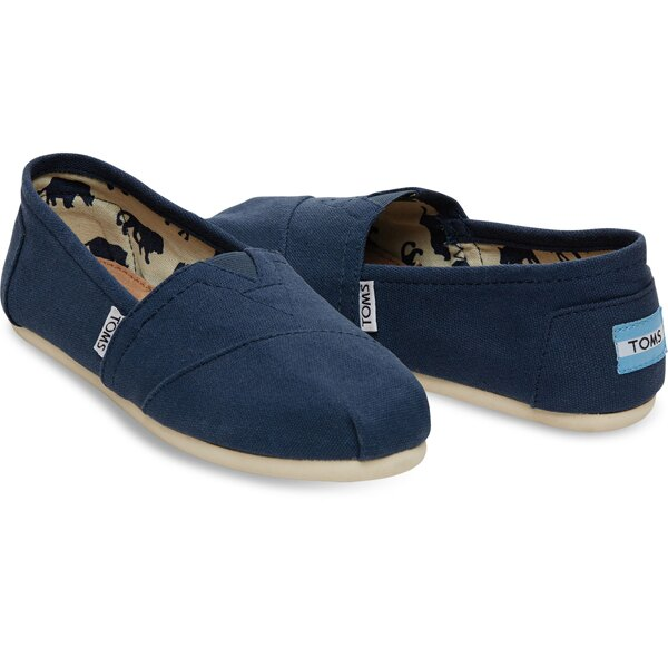全店點數20倍│APP下單滿700現折100│【TOMS】藍色素面基本款休閒鞋  Navy Canvas Women's Classics
