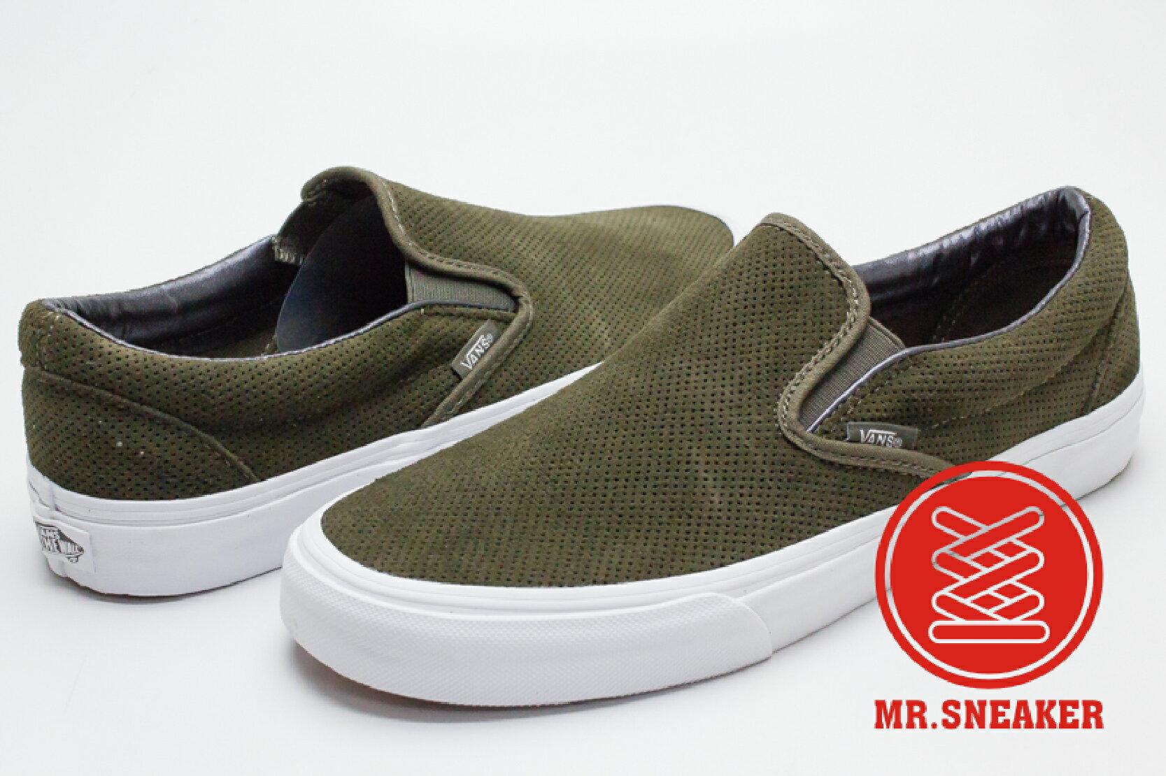 ☆Mr.Sneaker☆ VANS Slip-On 2016 秋冬/AW 休閒/懶人鞋 麂皮 網眼/洞洞 軍綠色 男女款
