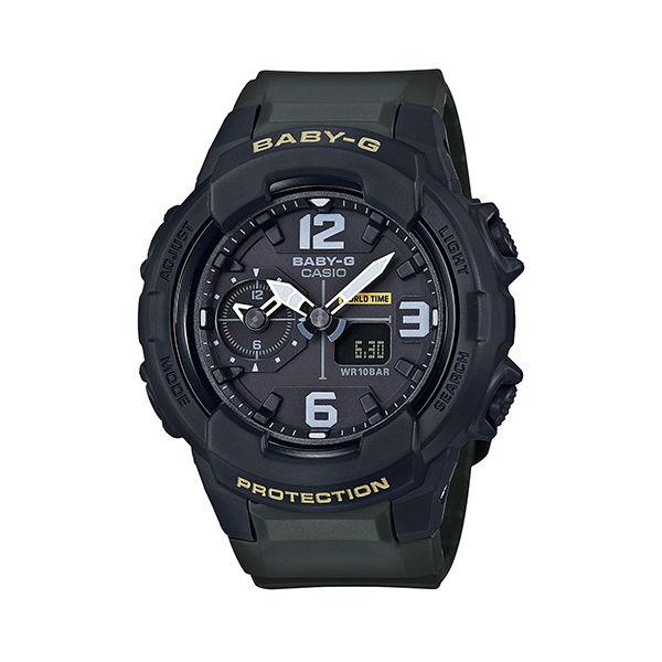 CASIOBABY-GBGA-230-3B帥氣冬季雙顯流行腕錶黑綠色42.9mm