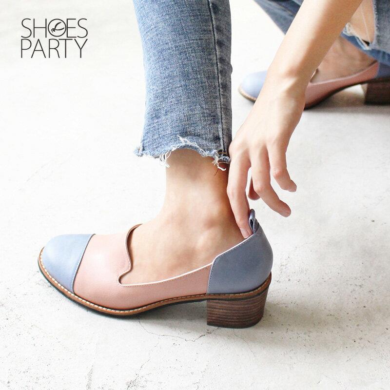 【P2-18421L】真皮拚色粗跟歐貝拉_Shoes Party 3