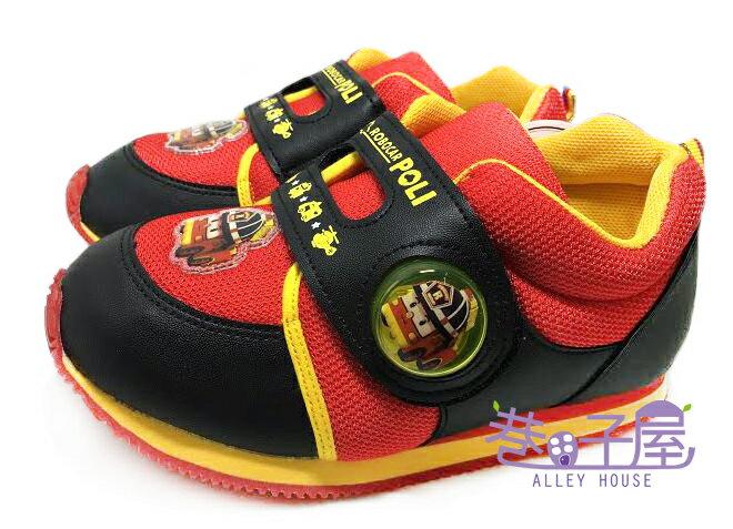 【巷子屋】POLI 波力 男童電燈造型復古運動鞋 [41912] 黑紅 MIT台灣製造 超值價$198
