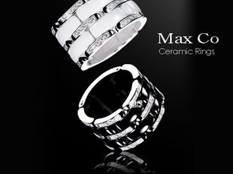【完全計時】手錶館│Max Co 精密陶瓷雙環戒指-晶鑽款 限量 黑/白