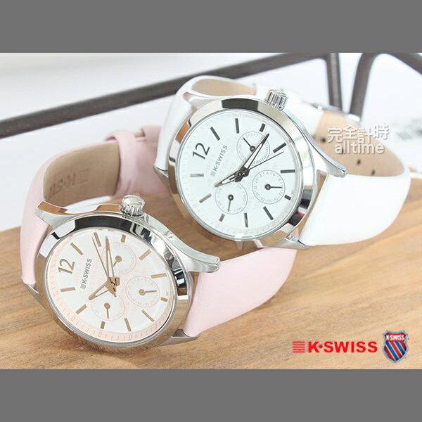 【完全計時】手錶館│KSWISS 時尚百搭款 優雅都會風格 三眼日期顯示 二色 女錶 93-0074