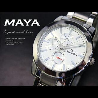 【完全計時】手錶館│MAYA 多功能精密腕錶 MS11007-1108813 白款/時尚首選