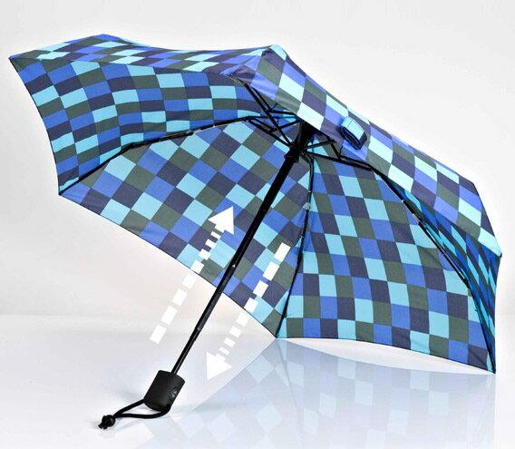 【鄉野情戶外用品店】 EuroSCHIRM |德國| DAINTY AUTOMATIC 輕巧迷你晴雨自動傘/玻璃纖維輕便雨傘-方塊藍/1A28