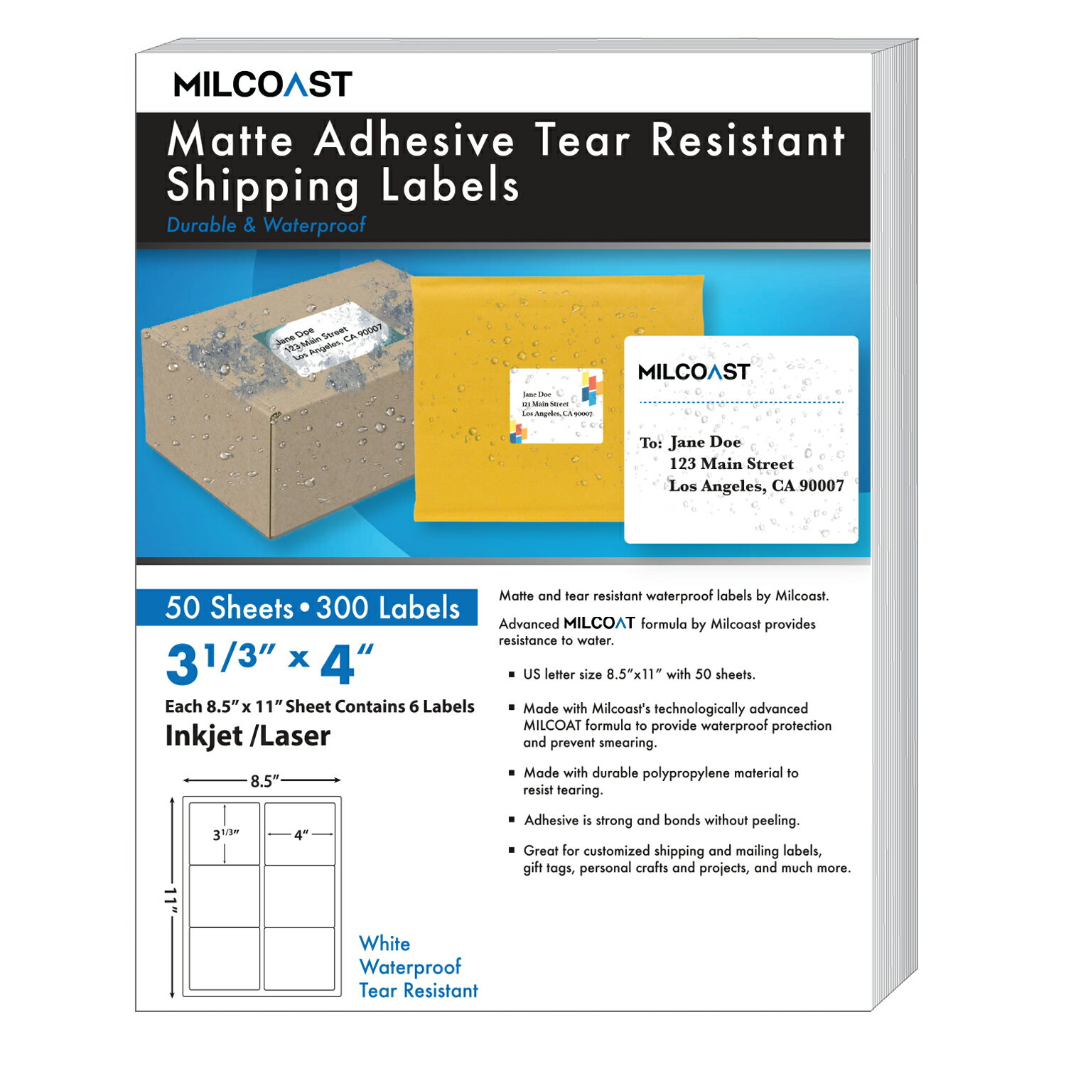 "Milcoast Matte Adhesive Tear Resistant Waterproof Shipping Labels - For  Inkjet / Laser Printers, Size 3-1/3 x 4"" Each - For Shipping, FBA,  Stickers,"