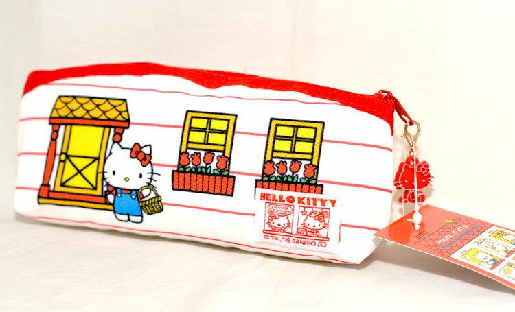 Hello Kitty 歡迎來我們家 帆布 筆袋 化妝包 包包 收納包 日本正版商品 1