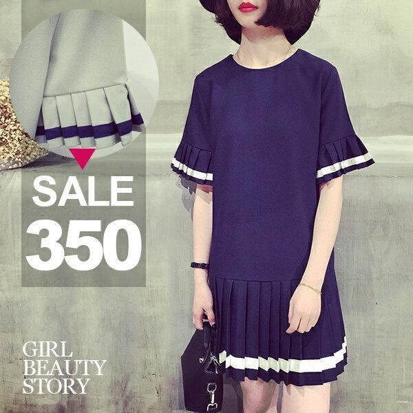 SISI【D6207】韓國學院風百褶邊撞色袖寬鬆修身娃娃百褶裙連身裙洋裝