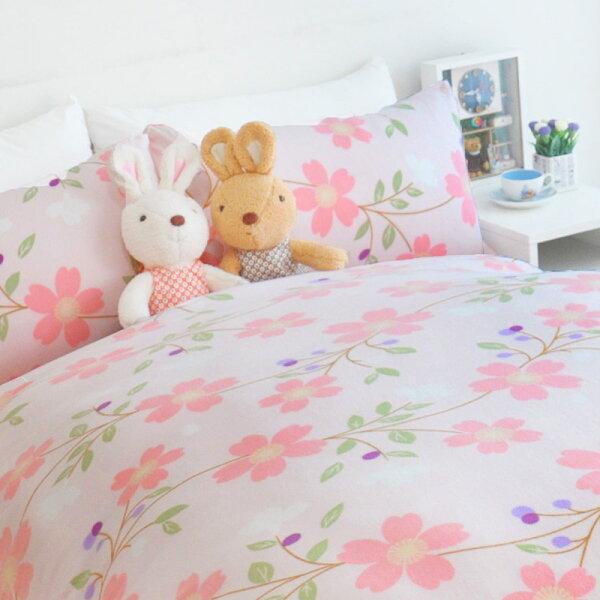 戀家小舖:床包兩用毯組雙人-暖呼呼搖粒絨【春印之花】含兩件枕套,發熱保暖,戀家小舖,台灣製-W08-AAW215