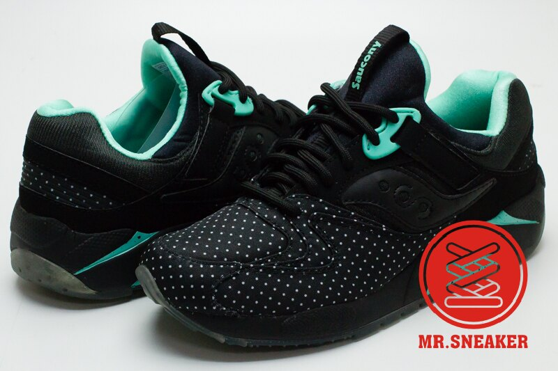 ☆Mr.Sneaker☆ Saucony Grid 9000 網狀避震 緩震 慢跑 索康尼 水玉 點點 黑綠色 女款