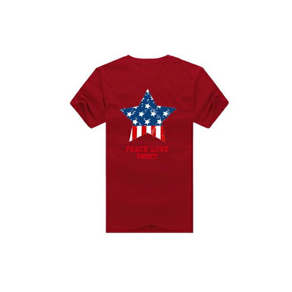 T恤 情侶裝 客製化 MIT台灣製純棉短T 班服◆快速出貨◆獨家配對情侶裝.藍紅圓圈星星【YC229】可單買.艾咪E舖 4