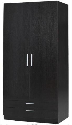 【新生活家具】 床組 衣櫥 衣櫃 胡桃 3*6.6尺 二抽 雙門 咖啡色 朱古力 非 H&D ikea 宜家