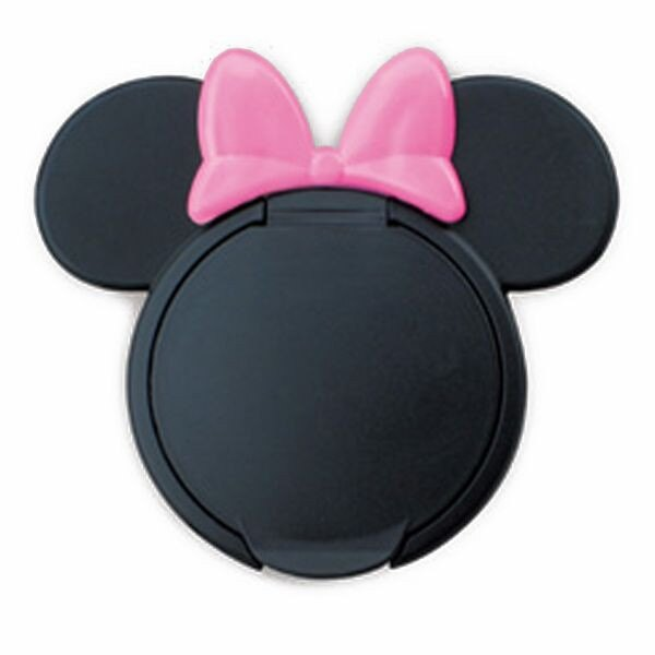 日本 Disney 米妮造型 重複黏濕紙巾用盒蓋【黑色底粉紅色蝴蝶結】*夏日微風*