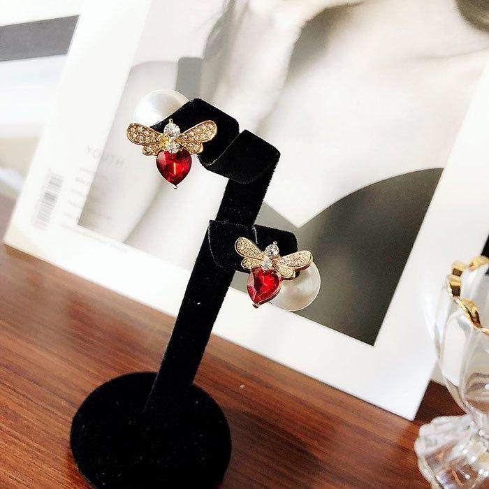 耳環 個性 愛心 鑲鑽 珍珠 甜美 氣質 雙面 耳釘 耳環【DD1812021】 BOBI  03 / 07 2