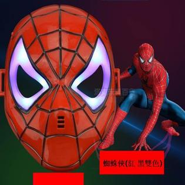 塔克玩具百貨:LED發光蜘蛛俠蜘蛛人面罩面具(紅色款)蜘蛛人面具復仇者聯盟萬聖節【塔克】