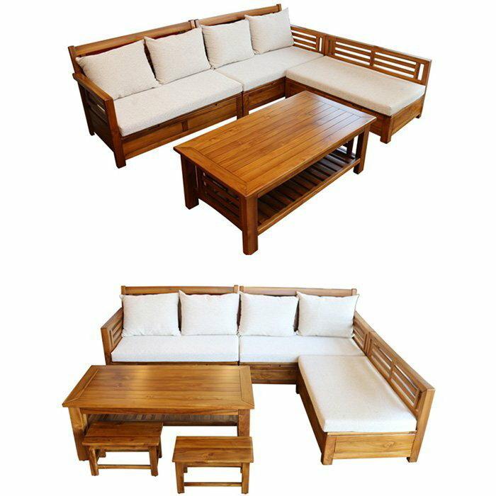 【尚品傢俱】601-22 舞鶴 柚木全實木L型組椅/ L型木製沙發組/居家客廳木造桌椅組/辦公室木作會客休憩椅組