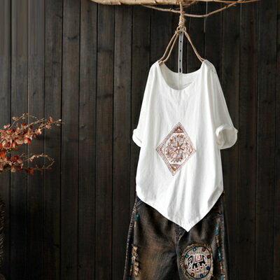 短袖T恤打底衫-菱形刺繡不規則下擺女上衣73sj60【獨家進口】【米蘭精品】