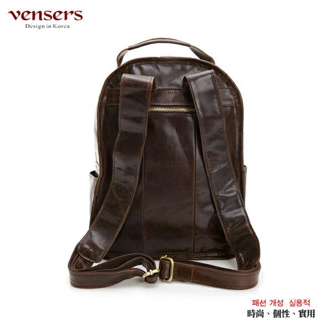 【Vensers】小牛皮潮流個性包~後背包(NE054602咖啡) 1