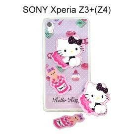 Hello Kitty 拭鏡貼透明軟殼 [甜點粉] SONY Xperia Z3+ / Z3 Plus (Z4)【三麗鷗正版授權】