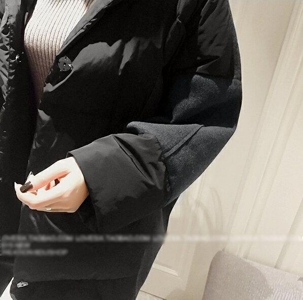紮實溫暖.純色寬鬆中長款連帽外套- shiny藍格子【V2145】★★ 5